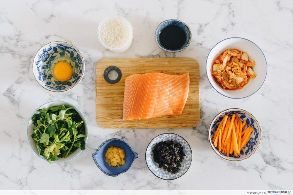 韩式三文鱼拌饭 食材