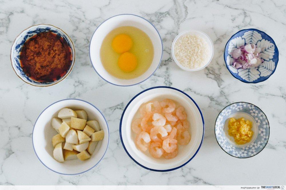 叻沙炒饭食材